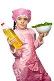 μαρούλι κοριτσιών πιάτων π&omicr Στοκ Φωτογραφίες