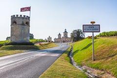 Μαρούλι D'Estournel, περιοχή του Μπορντώ, της Γαλλίας πύργων στοκ φωτογραφία