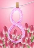 8 Μαρτίου έννοια προτύπων ευχετήριων καρτών ημέρας γυναικών ` s Μορφή οκτώ Στοκ εικόνες με δικαίωμα ελεύθερης χρήσης