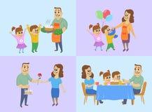 8 Μαρτίου, διεθνής έννοια ημέρας γυναικών ` s Ο σύζυγος και τα παιδιά προετοιμάζουν ένα κέικ, δίνουν τα δώρα στο mom και έχουν το απεικόνιση αποθεμάτων