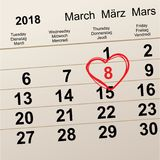 8 Μαρτίου διεθνής ημέρα γυναικών ` s Διαμορφωμένη καρδιά ημερολογιακή υπενθύμιση συμβόλων Στοκ Φωτογραφίες