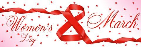 8 Μαρτίου διεθνείς κόκκινες λευκές γυναίκες γραμματοσήμων ημέρας ανασκόπησης Σχήμα οκτώ της κόκκινης κορδέλλας απεικόνιση αποθεμάτων