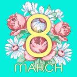 8 Μαρτίου Ευτυχής ευχετήρια κάρτα ημέρας γυναικών ` s, διανυσματικό floral έμβλημα διακοπών Κίτρινα 8 σε μια συρμένη χέρι floral  Στοκ φωτογραφία με δικαίωμα ελεύθερης χρήσης