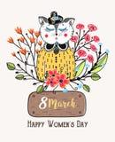8 Μαρτίου Ευτυχής ημέρα γυναικών ` s Ζωηρόχρωμο υπόβαθρο χαιρετισμού με τη χαριτωμένη γάτα στα λουλούδια Διακοπές άνοιξη Σκίτσο τ Στοκ Εικόνες