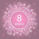 8 Μαρτίου Ευτυχής ημέρα γυναικών ` s Πλαίσιο με τα λουλούδια και τα χορτάρια Σχέδιο για μια πώληση διακοπών, ευχετήριες κάρτες, ι Απεικόνιση αποθεμάτων