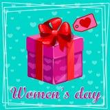 8 Μαρτίου Ευχετήρια κάρτα ημέρας γυναικών Κιβώτιο δώρων εορτασμού Στοκ εικόνα με δικαίωμα ελεύθερης χρήσης