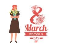 8 Μαρτίου ευχετήρια κάρτα ημέρας γυναικών με το κορίτσι στο φόρεμα ελεύθερη απεικόνιση δικαιώματος