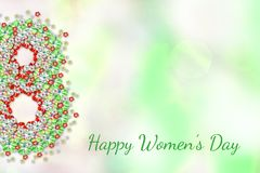 8 Μαρτίου ευχετήρια κάρτα με τα κόκκινα πράσινα λουλούδια στο ελαφρύ υπόβαθρο Αφηρημένη αφίσα άνοιξη Ευτυχής ημέρα γυναικών ` s στοκ εικόνα με δικαίωμα ελεύθερης χρήσης
