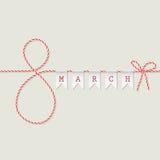 8 Μαρτίου ευχετήρια κάρτα Στοκ Φωτογραφίες
