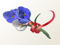 8 Μαρτίου ημέρα γυναικών ` s επίσης corel σύρετε το διάνυσμα απεικόνισης Ευχετήρια κάρτα με τους κρόκους λουλουδιών και μια ταινί Στοκ Φωτογραφία