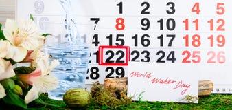 22 Μαρτίου ημέρα παγκόσμιου νερού στο ημερολόγιο στοκ εικόνα