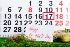 17 Μαρτίου ημέρα του Πάτρικ ` s στο ημερολόγιο Στοκ Εικόνα