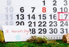 17 Μαρτίου ημέρα του Πάτρικ ` s στο ημερολόγιο Στοκ φωτογραφίες με δικαίωμα ελεύθερης χρήσης