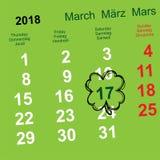 17 Μαρτίου ημέρα του ST Πάτρικ Ημερολογιακή υπενθύμιση τριφυλλιού φύλλων Στοκ φωτογραφίες με δικαίωμα ελεύθερης χρήσης