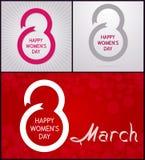 8 Μαρτίου Ημέρα των ευτυχών γυναικών διανυσματική απεικόνιση