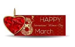 8 Μαρτίου Ημέρα των ευτυχών διεθνών γυναικών Έμβλημα για την ημέρα των γυναικών Στοκ εικόνες με δικαίωμα ελεύθερης χρήσης