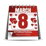 8 Μαρτίου Ημερομηνία διακοπών στο ημερολόγιο Στοκ εικόνες με δικαίωμα ελεύθερης χρήσης