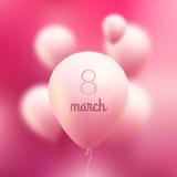 8 Μαρτίου διεθνείς κόκκινες λευκές γυναίκες γραμματοσήμων ημέρας ανασκόπησης Διανυσματικά ρόδινα πετώντας μπαλόνια με στις 8 Μαρτ απεικόνιση αποθεμάτων
