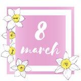 8 Μαρτίου κάρτα διακοπών με τα daffodils απεικόνιση αποθεμάτων