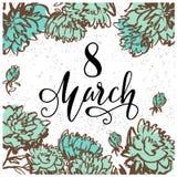 8 Μαρτίου πρότυπο ευχετήριων καρτών ημέρας γυναικών ` s με συρμένο το χέρι λουλούδι Στοκ Εικόνα