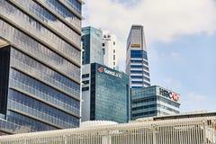 19 Μαρτίου 2019 - Σιγκαπούρη: Ουρανοξύστες μέσα κεντρικός της Σιγκαπούρης Κέντρο της πόλης με τους ουρανοξύστες, Σιγκαπούρη στοκ εικόνα με δικαίωμα ελεύθερης χρήσης