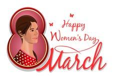 8 Μαρτίου, συγχαρητήρια στην ημέρα των διεθνών γυναικών, όμορφο, χαριτωμένο, καλό όμορφο κορίτσι Στοκ Εικόνες
