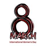 8 Μαρτίου Συρμένη χέρι εγγραφή κακογραφίας Ημέρα των διεθνών γυναικών Στοκ Εικόνες