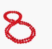 8 Μαρτίου σχήμα 8 εορτασμού ημέρας γυναικών ` s κόκκινη διακόσμηση χαντρών clipart Στοκ Εικόνες
