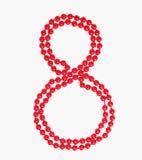 8 Μαρτίου σχήμα 8 εορτασμού ημέρας γυναικών ` s κόκκινη διακόσμηση χαντρών clipart Στοκ Φωτογραφία