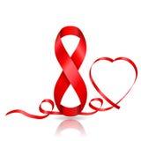 8 Μαρτίου σύμβολο της κόκκινης κορδέλλας και της κορδέλλας στην καρδιά που διαμορφώνεται Στοκ Φωτογραφίες