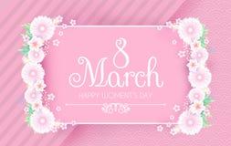 8 Μαρτίου Χαιρετισμός και πρόσκληση ημέρας γυναικών ` s με τα μαλακά λουλούδια Χαριτωμένο πρότυπο σχεδίου καρτών για τα γενέθλια, Στοκ εικόνες με δικαίωμα ελεύθερης χρήσης
