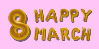 8 Μαρτίου χρυσός επιστολών Baloon φύλλων αλουμινίου με τις σκιές απεικόνιση αποθεμάτων