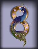 8 Μαρτίου peacock μπλε Στοκ Εικόνα