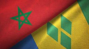 Μαρόκο και Άγιος Βικέντιος και Γρεναδίνες δύο υφαντικό ύφασμα σημαιών διανυσματική απεικόνιση