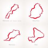 Μαρόκο, Μαυρίκιος και Μαλί - χάρτης περιλήψεων Στοκ Φωτογραφία