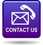 Μας ελάτε σε επαφή με βιολέτα εικονιδίων κλήσης ταχυδρομείου διανυσματική απεικόνιση