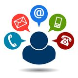 Μας ελάτε σε επαφή με εικονίδια ταχυδρομείου κλήσης ελεύθερη απεικόνιση δικαιώματος