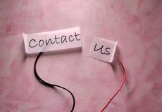 Μας ελάτε σε επαφή με ετικέττα στοκ φωτογραφίες
