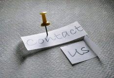 Μας ελάτε σε επαφή με ετικέττα στοκ εικόνα με δικαίωμα ελεύθερης χρήσης