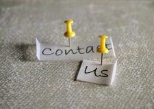 Μας ελάτε σε επαφή με ετικέττα στοκ εικόνα