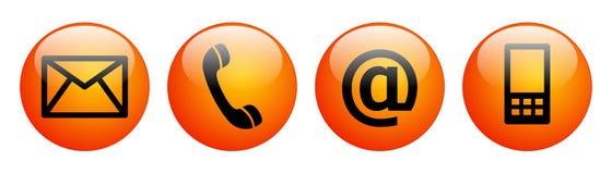 Μας ελάτε σε επαφή με κόκκινο πορτοκάλι κουμπιών Ιστού απεικόνιση αποθεμάτων