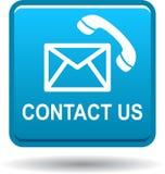 Μας ελάτε σε επαφή με μπλε εικονιδίων κλήσης ταχυδρομείου κουμπιών ελεύθερη απεικόνιση δικαιώματος
