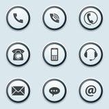 Μας ελάτε σε επαφή με σύνολο απεικόνισης κουμπιών υπηρεσίας υποστήριξης ελεύθερη απεικόνιση δικαιώματος