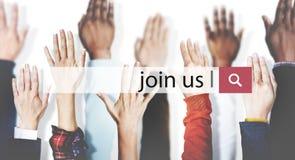Μας ενώστε έννοια μίσθωσης απασχόλησης πρόσληψης στοκ εικόνα με δικαίωμα ελεύθερης χρήσης