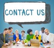 Μας ελάτε σε επαφή με έννοια προσοχής πελατών υπηρεσιών άμεσων πληροφοριών Στοκ Φωτογραφίες