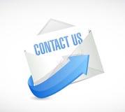 μας ελάτε σε επαφή με έννοια σημαδιών ταχυδρομείου Στοκ Εικόνα
