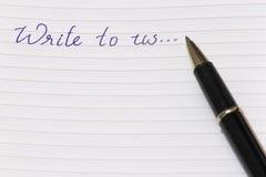 Μας ελάτε σε επαφή με ή μας γράψτε σε στοκ φωτογραφία με δικαίωμα ελεύθερης χρήσης