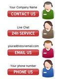 Μας ελάτε σε επαφή με εμβλήματα υποστήριξης με τα κουμπιά Στοκ εικόνες με δικαίωμα ελεύθερης χρήσης