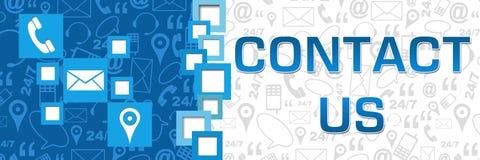 Μας ελάτε σε επαφή με μπλε έμβλημα διαχωριστών τετραγώνων Στοκ εικόνες με δικαίωμα ελεύθερης χρήσης