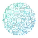 Μας ελάτε σε επαφή με σχέδιο κύκλων γραμμών Στοκ εικόνες με δικαίωμα ελεύθερης χρήσης